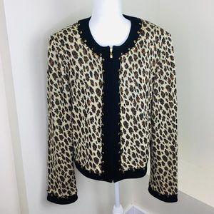St. John Collection Leopard Zip Blazer